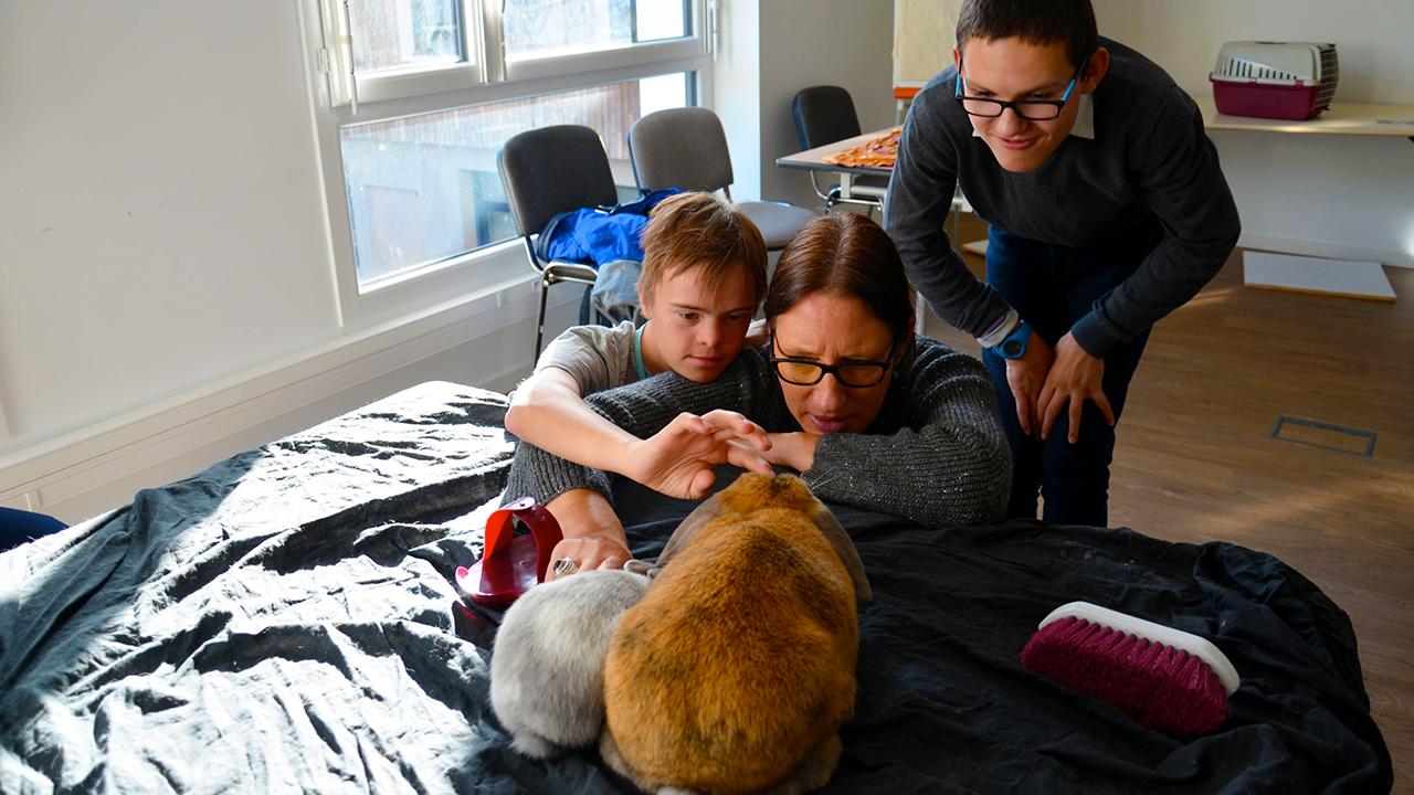 Rencontre avec deux adorables lapins lors de l'atelier « Un animal, des anim'mots » à l'IME La Fleuriaye.