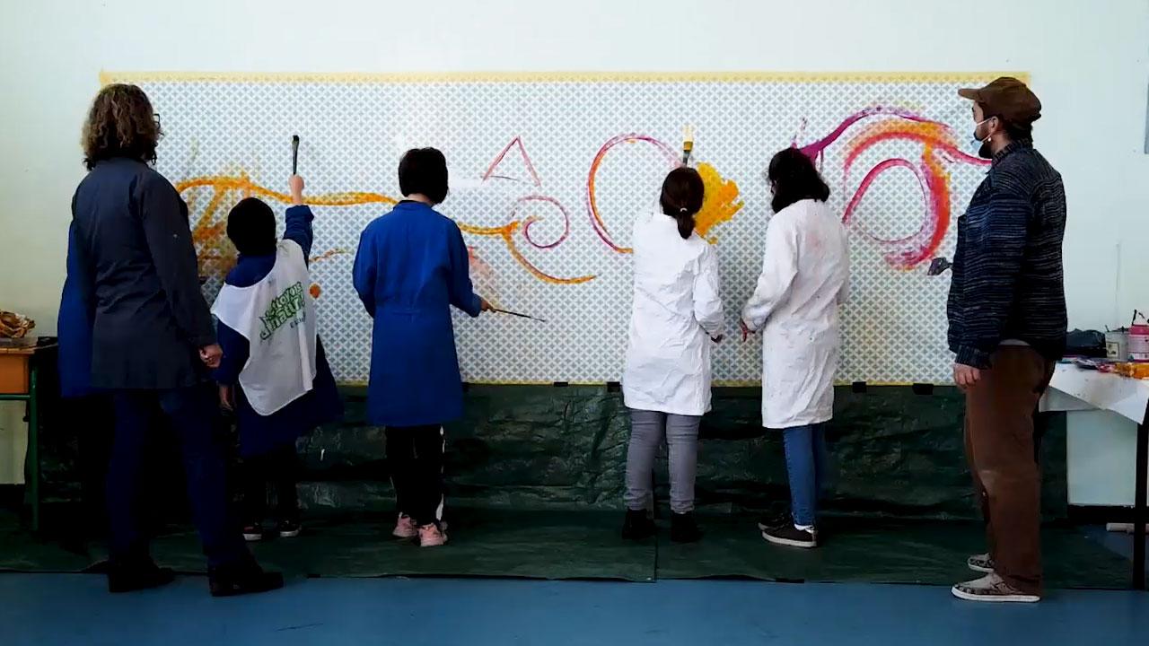 Réalisation d'une fresque par fasto et les jeunes de l'IME